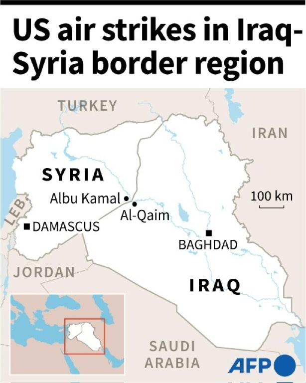 Map of Iraq and Syria after US air strikes in the border region against Iran-backed armed groups.