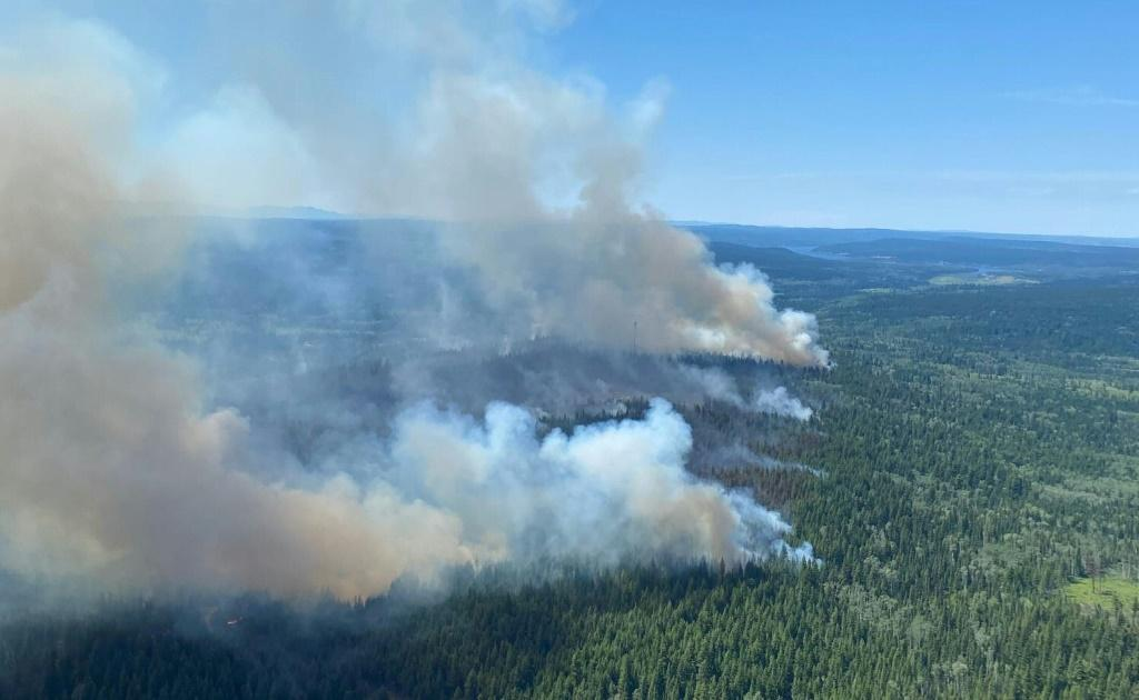 A wildfire in British Columbia on July 2, 2021, one of more than 170 blazes fueled by a record-smashing heat wave