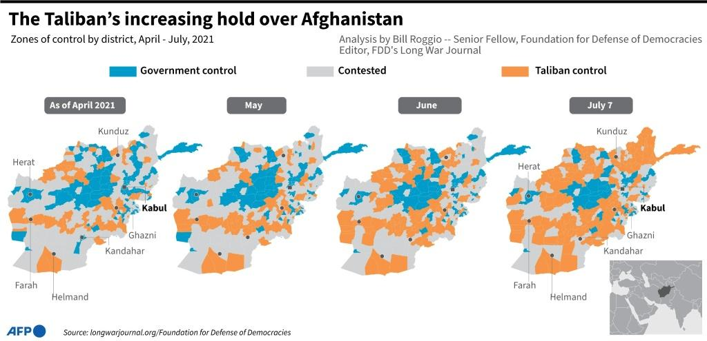 Map showing parts of Afghanistan under government control and territories under the influence of the Taliban, from April till July.