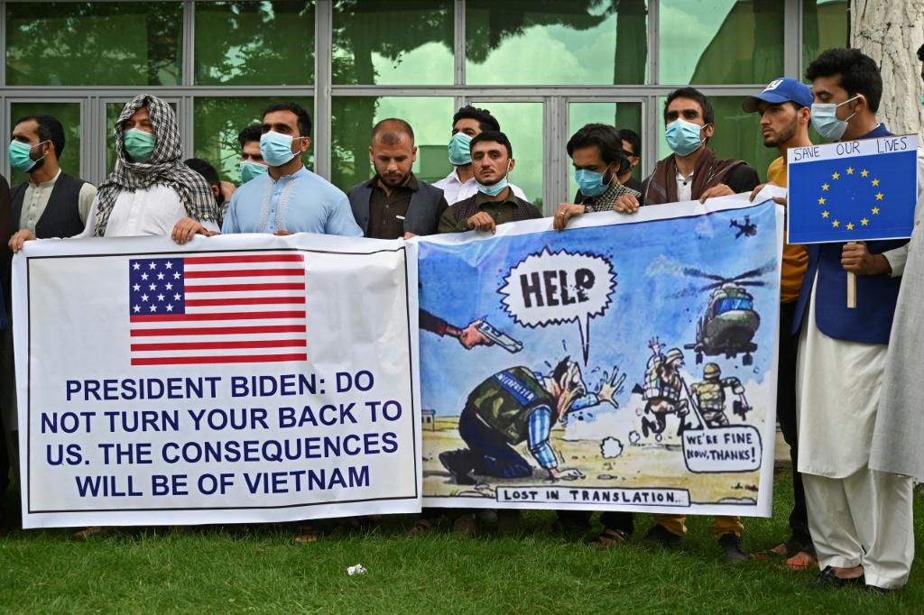 Afghan former interpreters for the US and NATO forces demonstrate in Kabul in April after US President Joe Biden announced the US withdrawal from the country