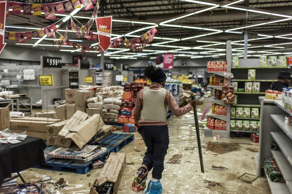 Plundered: A shopping mall in Vosloorus, on the outskirts of Johannesburg