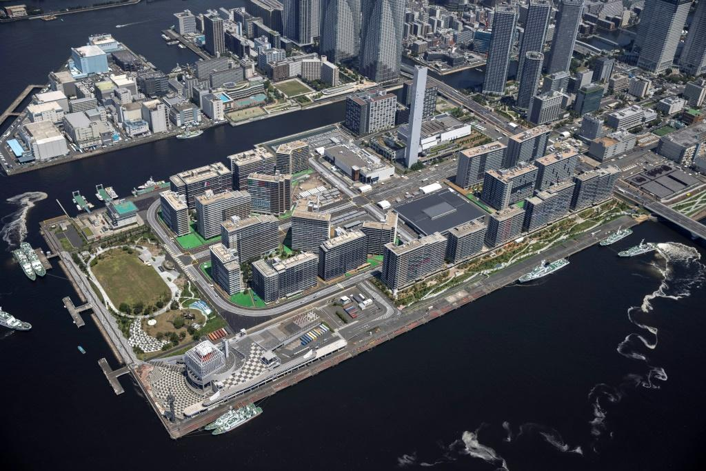 An aerial shot of the Tokyo Olympic and Paralympic Village, which will house thousands of athletes