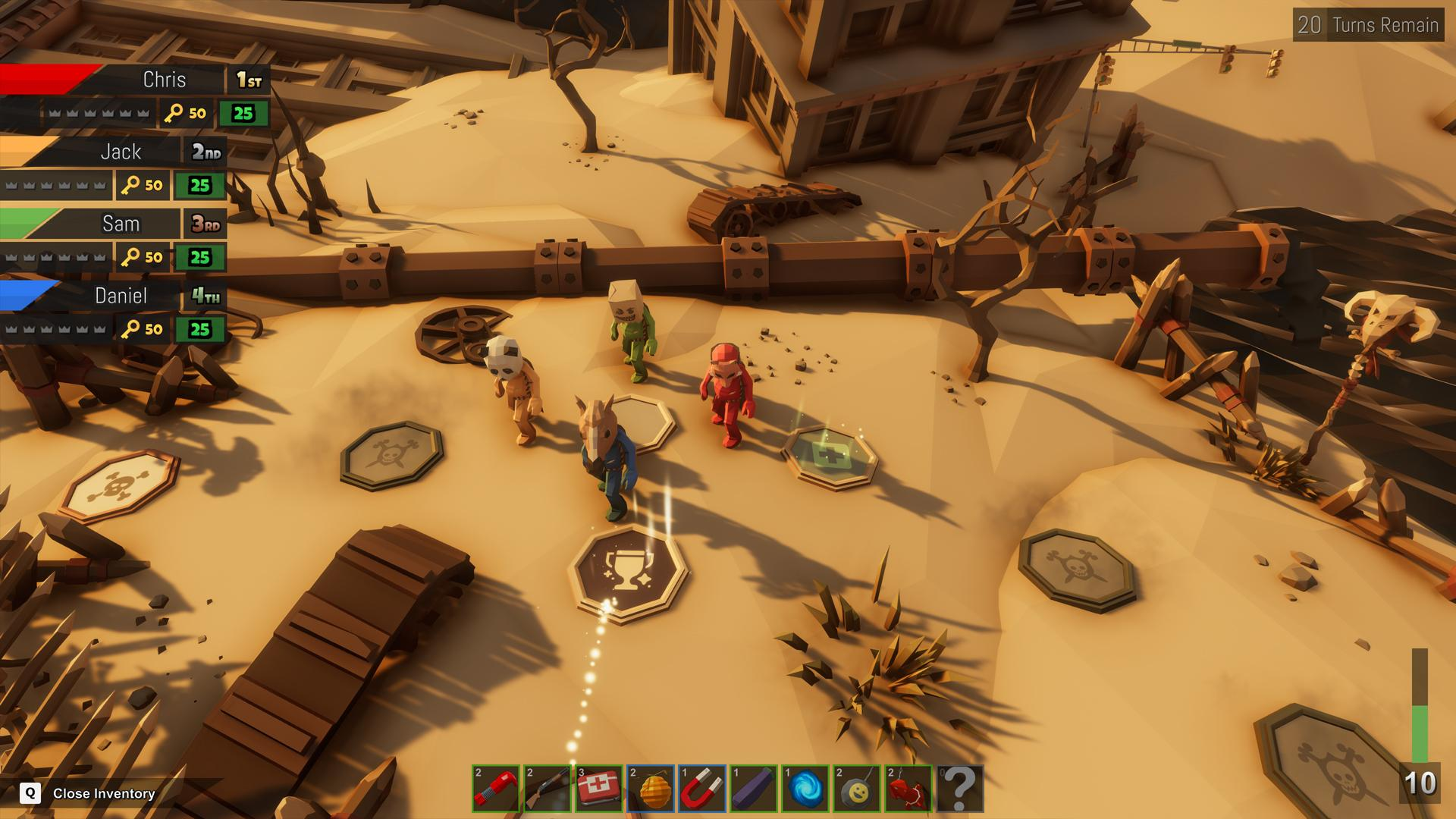 Pummel Party is a chaotic party game that mixes board game races with various minigames