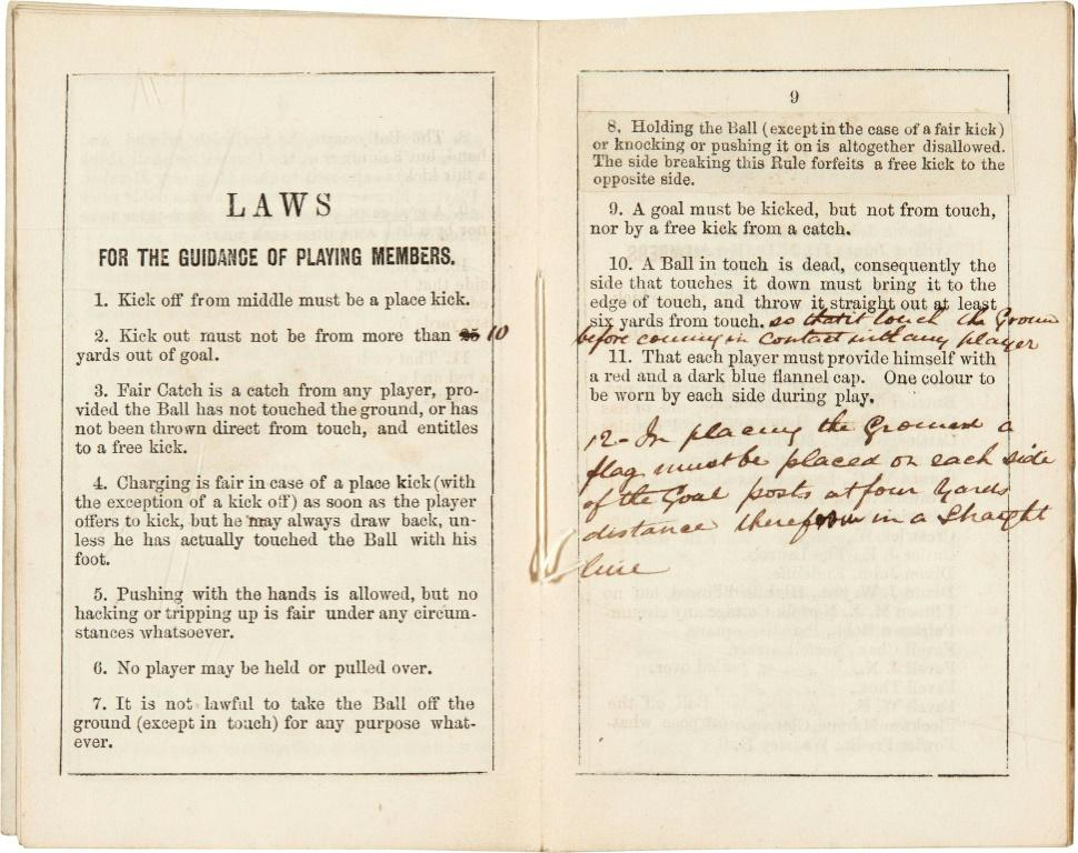 The hand-annotated pamphlet, discovered in a Victorian scrapbook, was printed in 1859 after a series of meetings held by Sheffield Football Club