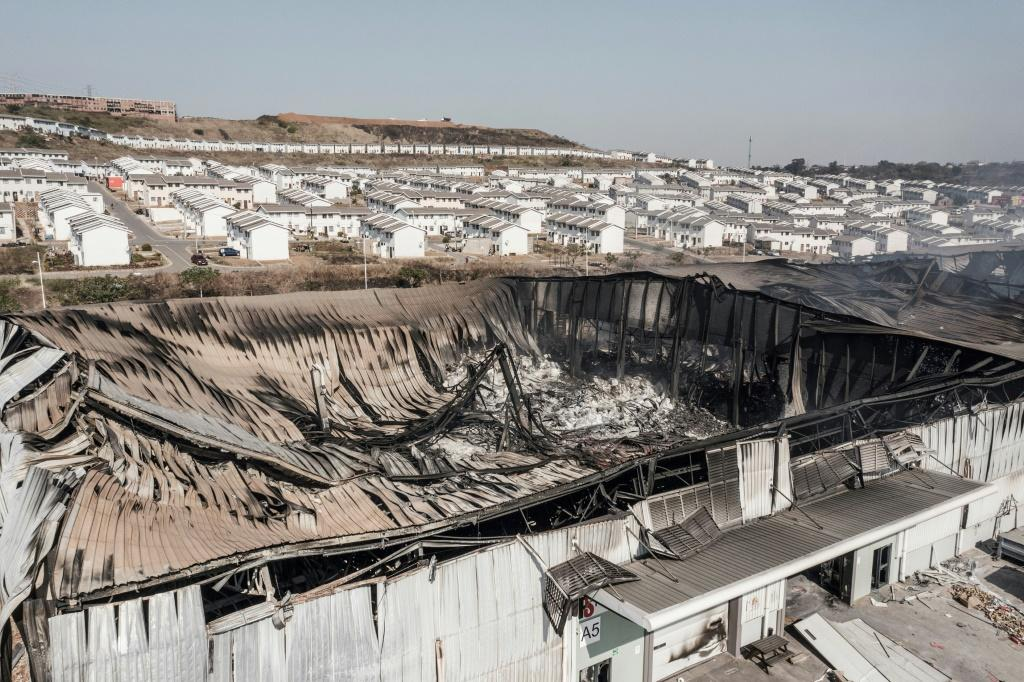 Destruction: The smouldering remains of a warehouse in Durban's Ushukela Industrial Park