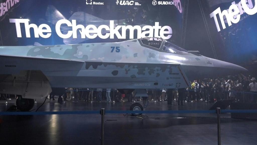 """IMAGESA new next-generation Sukhoi stealth jet fighter dubbed """"The Checkmate"""" is unveiled at the MAKS biennial airshow outside of Moscow. Manufacturer Rostec describes the aircraft as a light single-engine fighter jet that incorporates """"innovative solutio"""