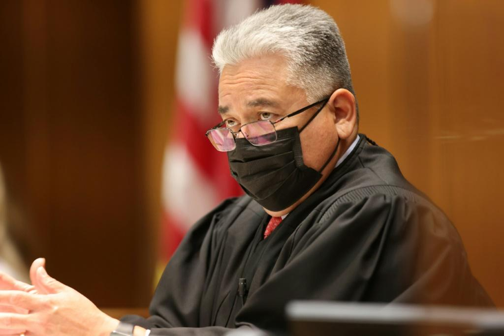 Judge Sergio Tapia oversees the arraignment hearing for former film producer Harvey Weinstein on July 21, 2021 in Los Angeles, California