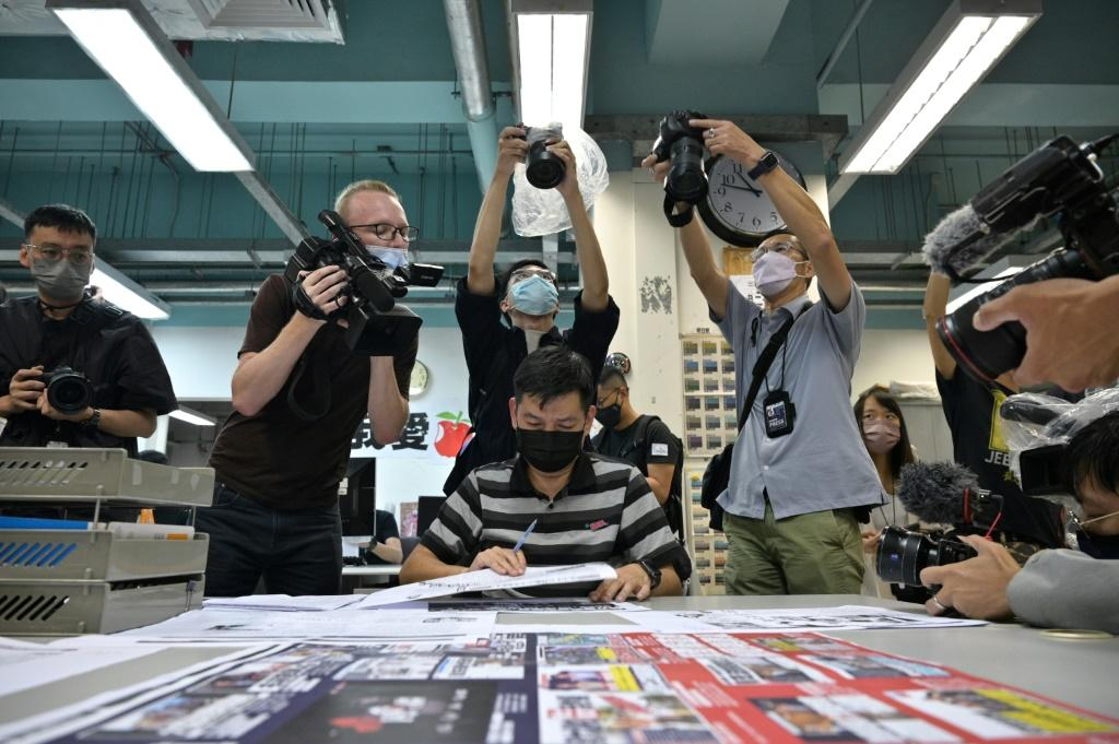 Lam Man-Chung, then executive editor in chief of Hong Kong's pro-democracy 'Apple Daily' newspaper on the day before it printed its final edition