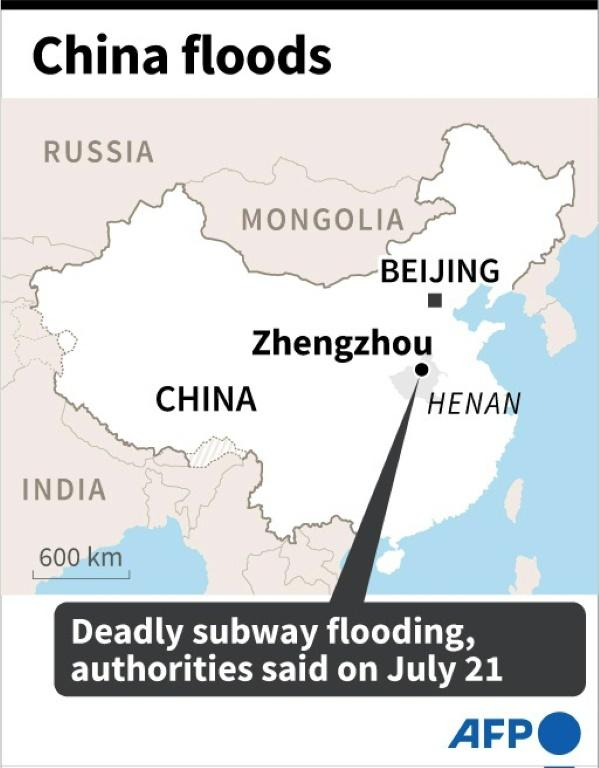 Map locating central Chinese city of Zhengzhou, where at least a dozen people died after torrential rains flooded the subway, authorities said on Wednesday.