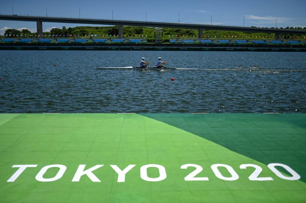 Rowing teams are training at the Sea Forest Waterway in Tokyo