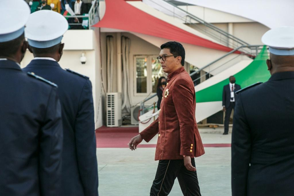 Rajoelina inspects the troops on Madagascar's Independence Day last month