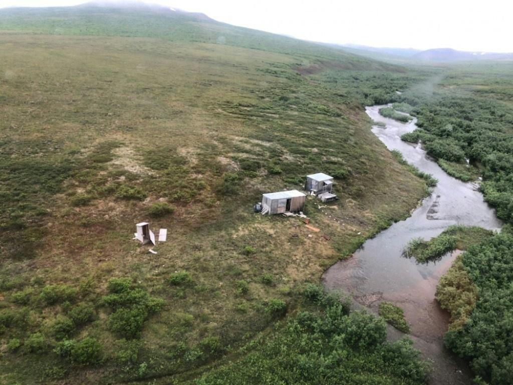 The camp where a Coast Guard aircrew rescued a survivor of a bear attack, seen in a photo provided by the US Coast Guard