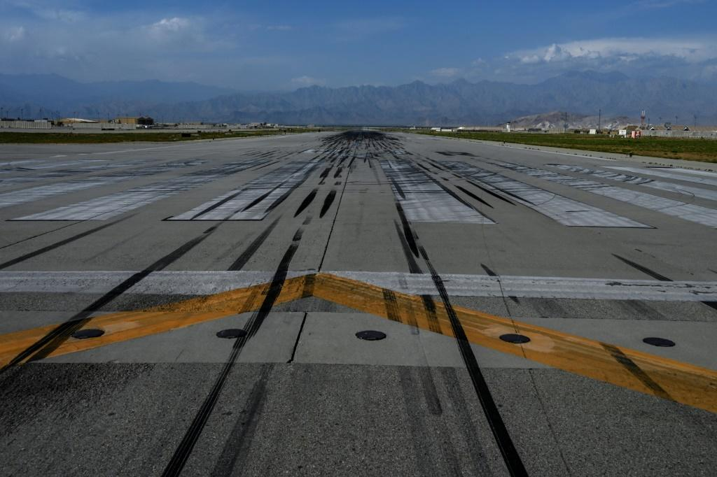 The runway at Bagram air base outside of Kabul, Afghanistan, after the US turned the base over to the Afghan government