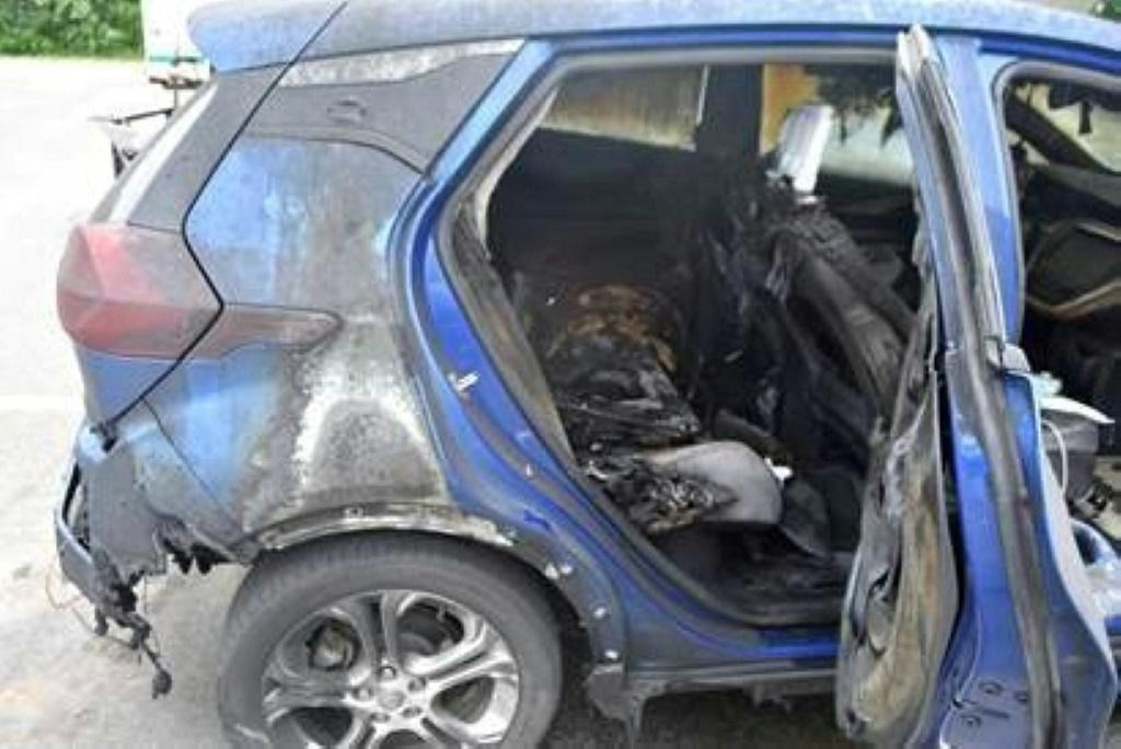 An image released by the Vermont State Police earlier this month shows a 2019 Chevrolet Bolt EV after it caught fire