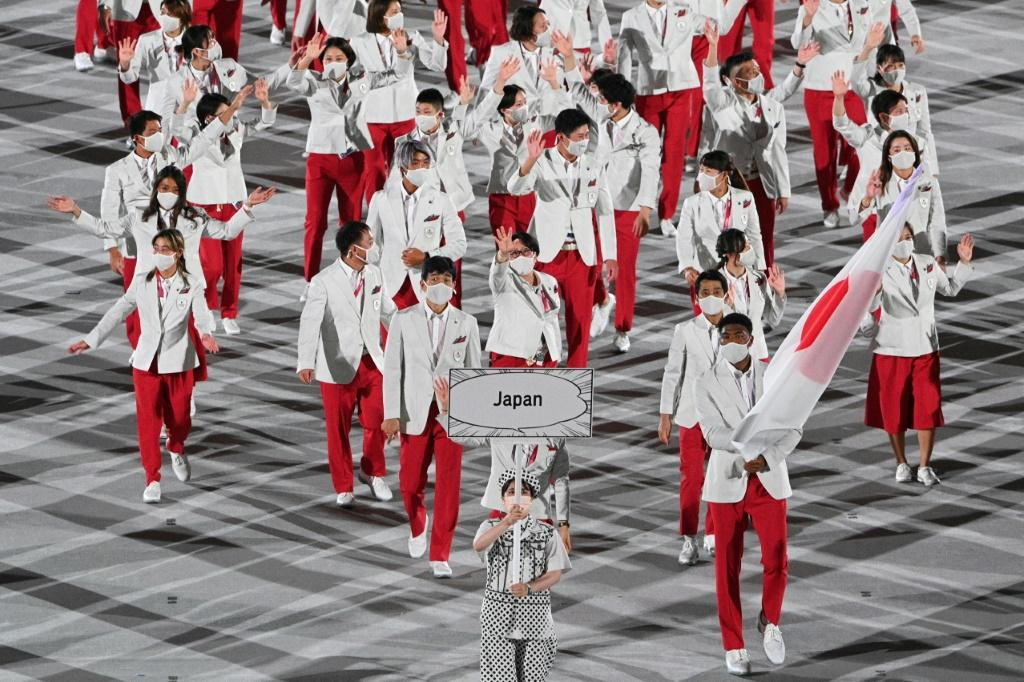 As the host nation, the Japanese team paraded last into the stadium