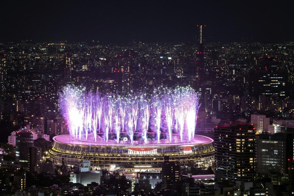 Fireworks light up the sky over the Olympic Stadium during the opening ceremony