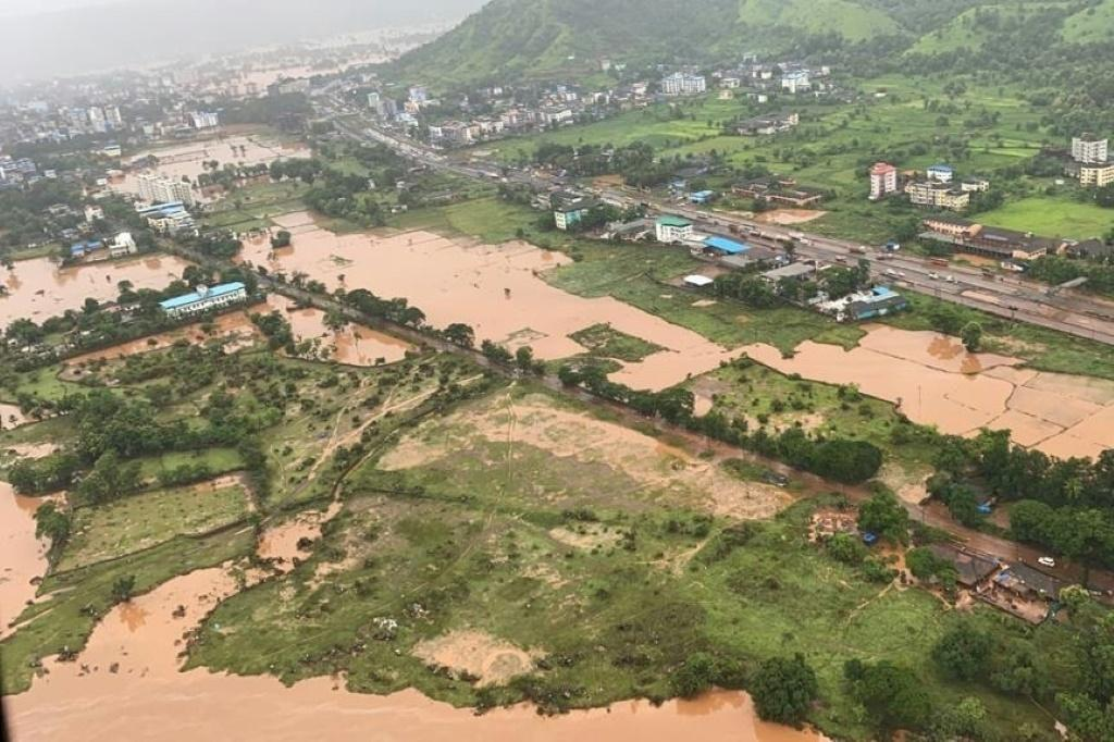 Heavy monsoon rains in the Raigad district of Maharashtra state have caused flooding