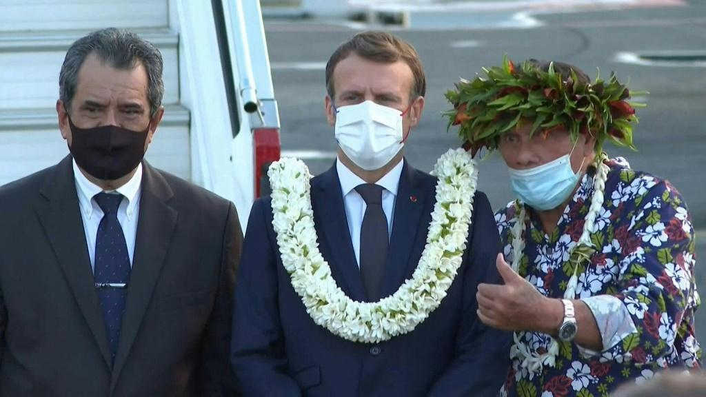 French President Emmanuel Macron arrives on the island of Tahiti for a four-day trip to French Polynesia