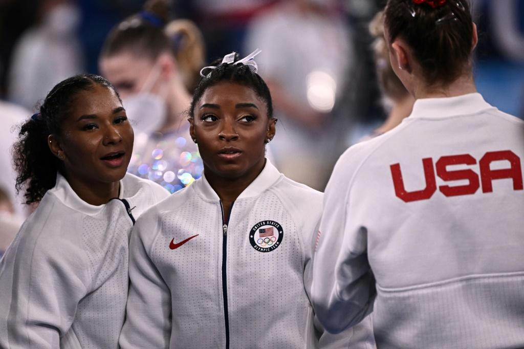 Support for USA's Simone Biles (C) poured in from around the world