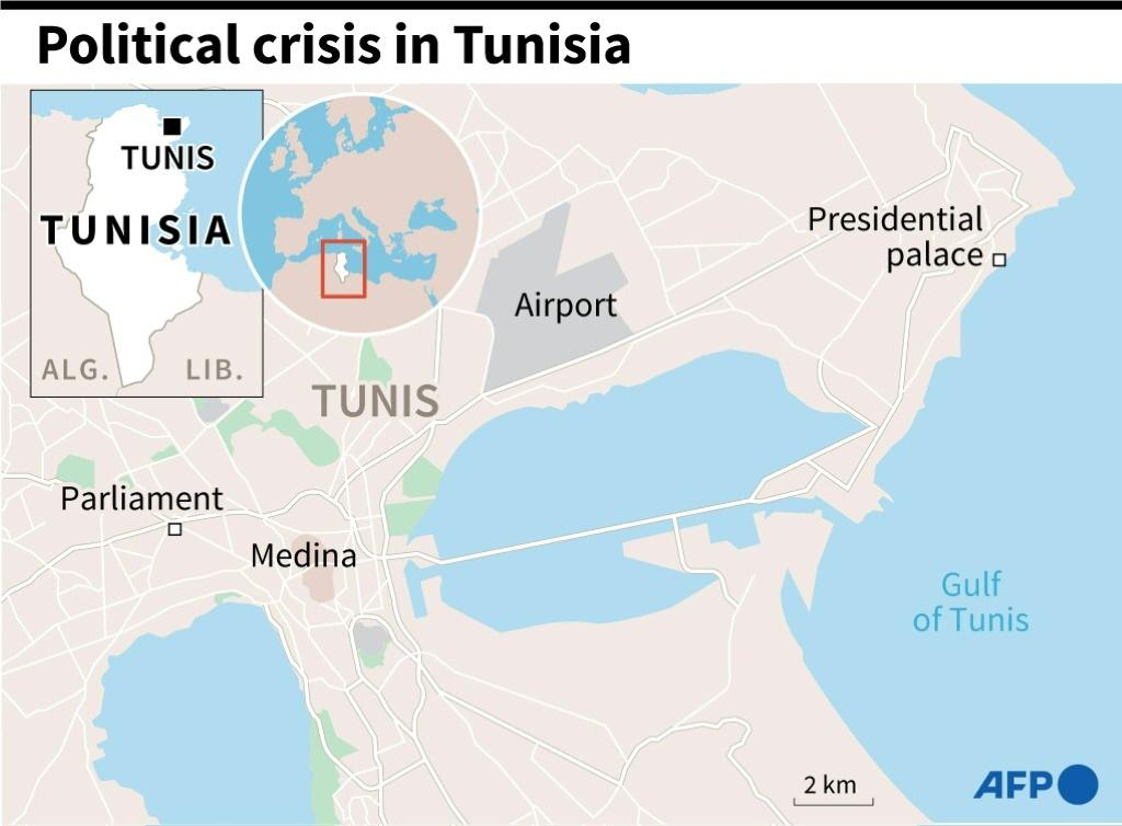 Map of Tunisia's capital Tunis, embroiled in a political crisis