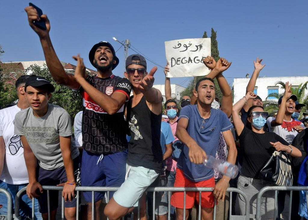 Supporters of Tunisia's President Kais Saied also took to the streets to back his actions, seen here on July 26, 2021