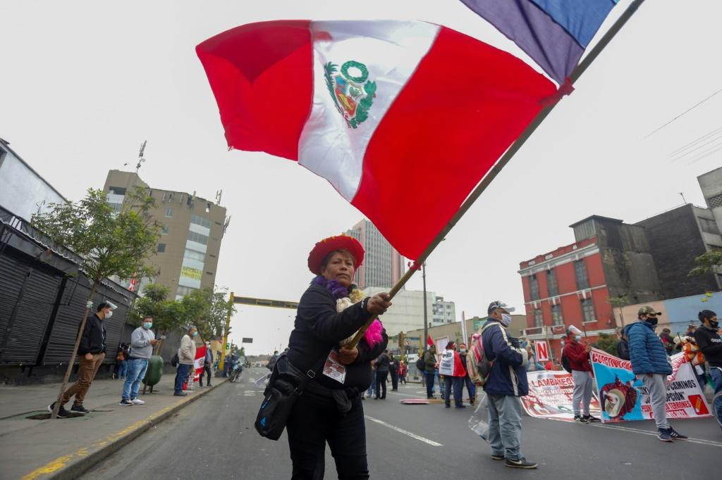 Thousands of police were deployed in the streets of Lima as Castillo fans gathered to show their support