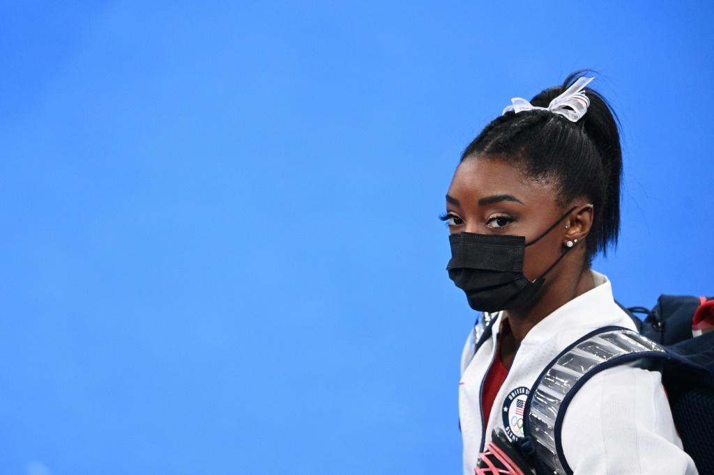 USA's Simone Biles looks on after scratching from the artistic gymnastics women's team final on Tuesday