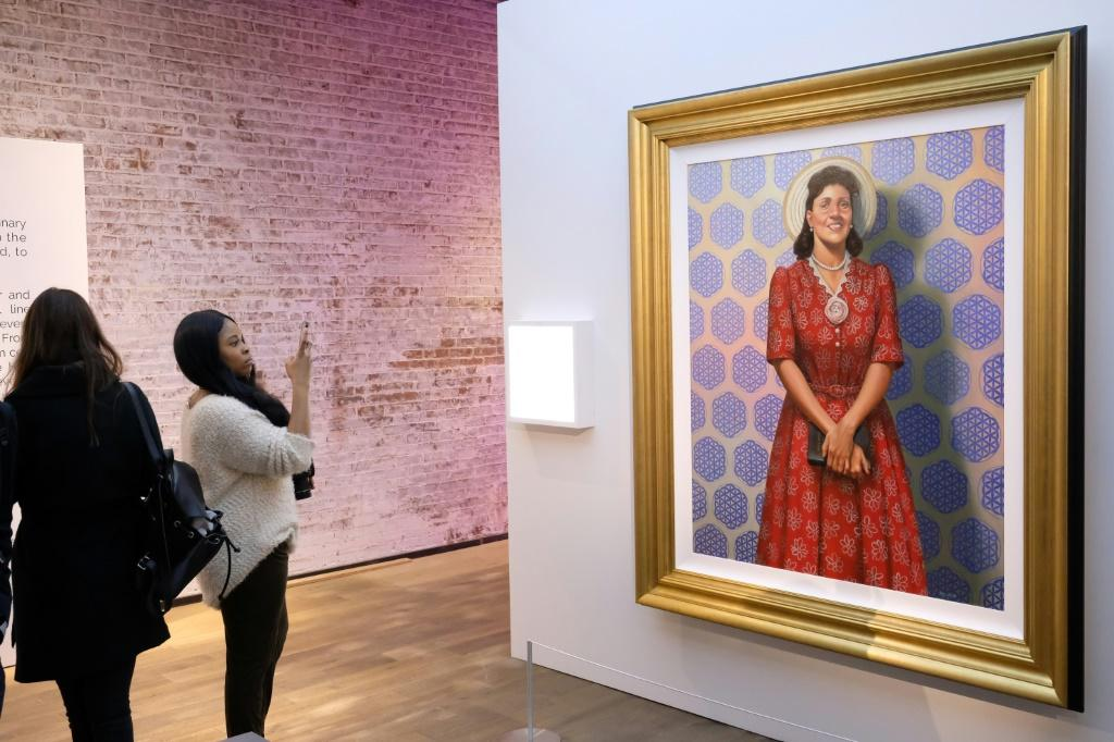 A portrait of Henrietta Lacks, known for her unusually fast cell growth, on show in New York April 6, 2017