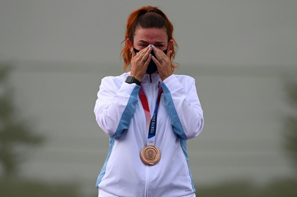Alessandra Perilli cries on the podium after winning San Marino's first Olympic medal in its history