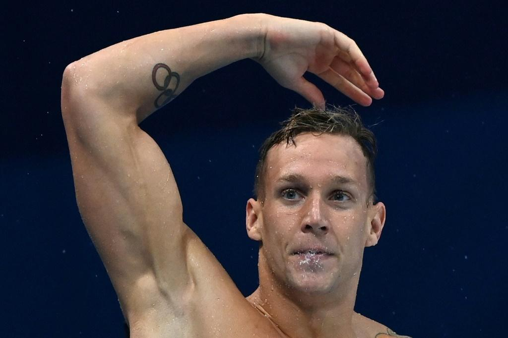 Caeleb Dressel celebrates victory in the men's 50m freestyle at the Tokyo Olympics