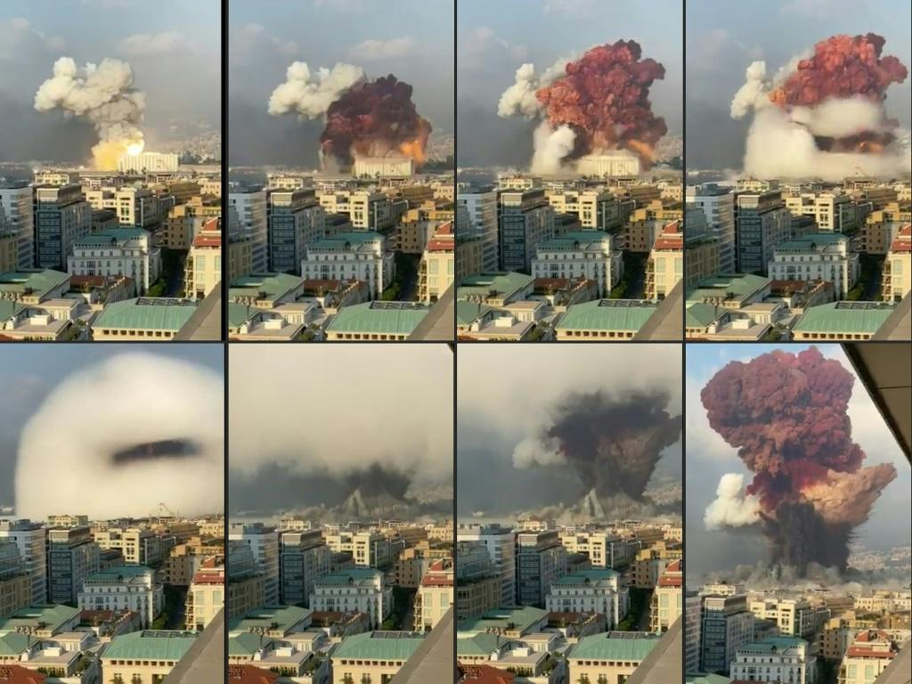 UGC footage filmed from an office building shows the cataclysmic August 4, 2020 blast at the Beirut port that killed more than 200 people