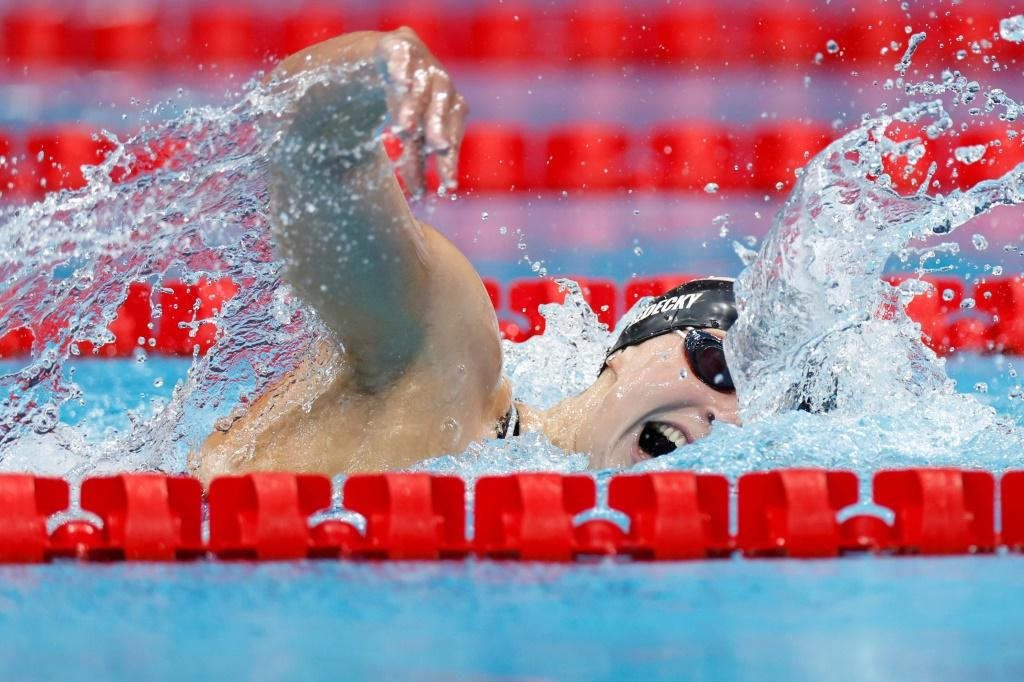 USA's Katie Ledecky stormed to her third straight Olympic 800m freestyle title with a dominant swim to bank her fourth medal in Tokyo