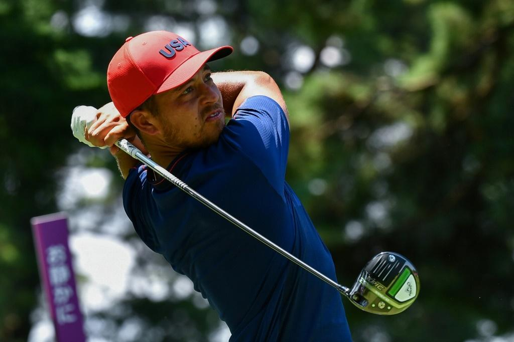 Xander Schauffele in action during the fourth round of the Olympics golf competition