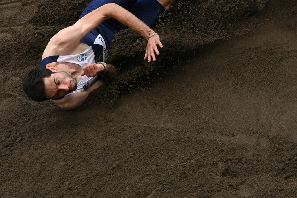 Greece's Miltiadis Tentoglou competes in the men's long jump final at the Tokyo Olympics