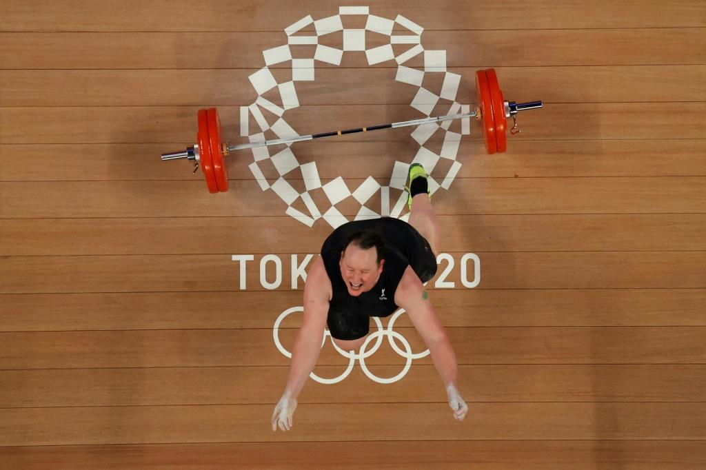 New Zealand's Laurel Hubbard reacts after a failed lift