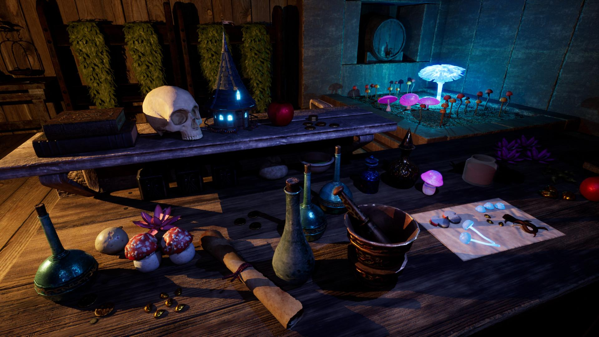 The Wayward Realms features a custom spellcrafting and potion-making system