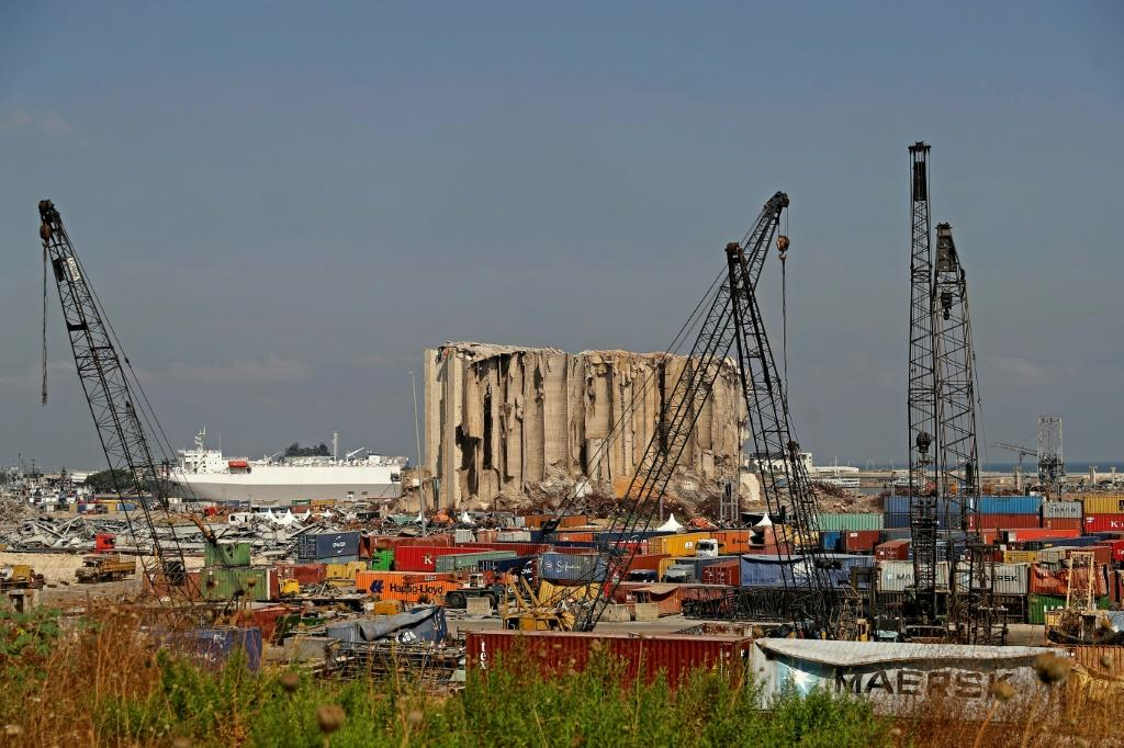 A general view shows the damaged grain silos at the port on August 4, 2021, as Lebanon marks a year since a cataclysmic explosion ravaged the capital Beirut