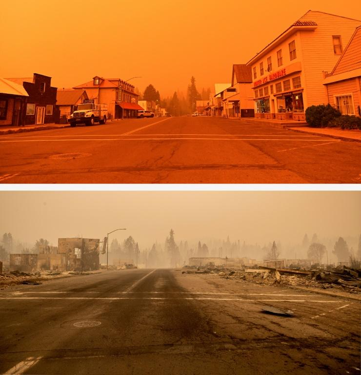 In this photo combination, a before and after series shows downtown Greenville, California before it burned on July 23, 2021 (above) and the day it burned (below) on August 4, 2021 during the Dixie fire