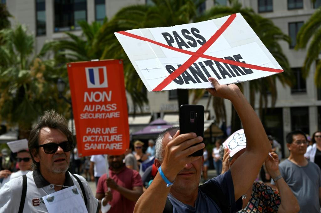 Protesters in the southern French city of Toulon rally against the health pass, on August 7, 2021
