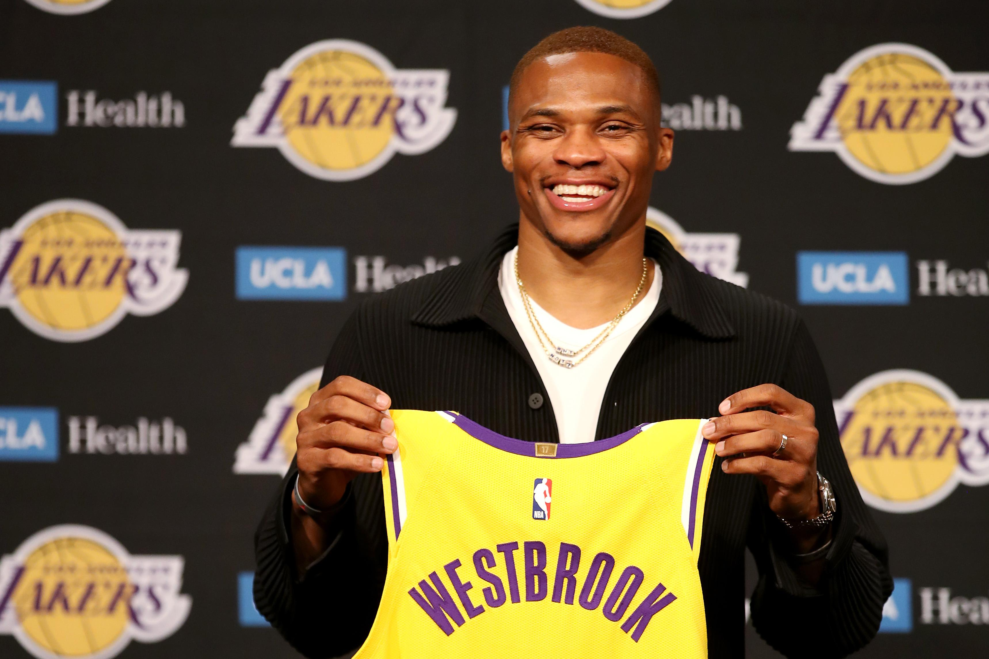 Russell Westbrook #0 of the Los Angeles Lakers
