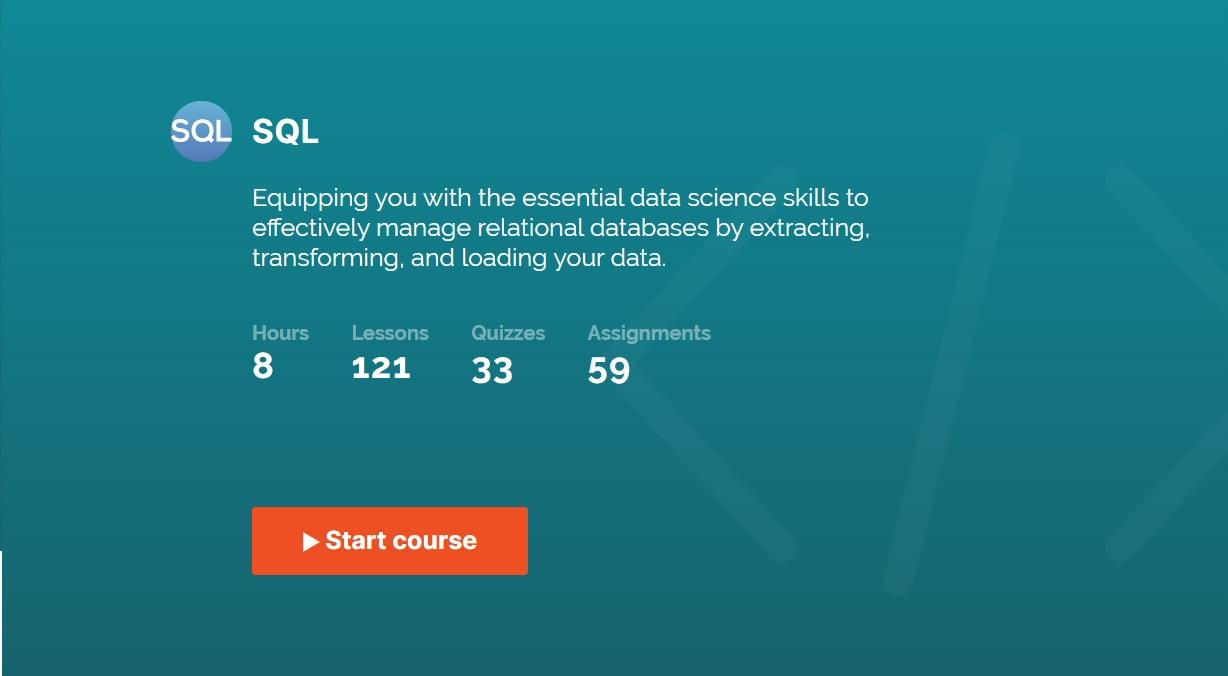 365 Data Science's SQL course