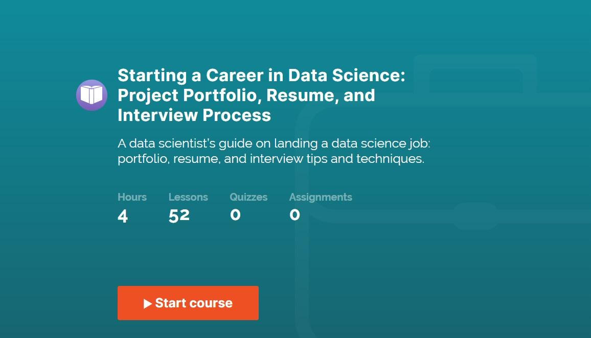 365 Data Science's Starting a Career in Data Science course