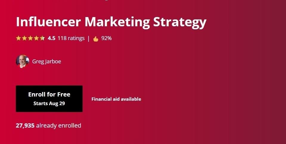 Coursera's Influencer Marketing Strategy course