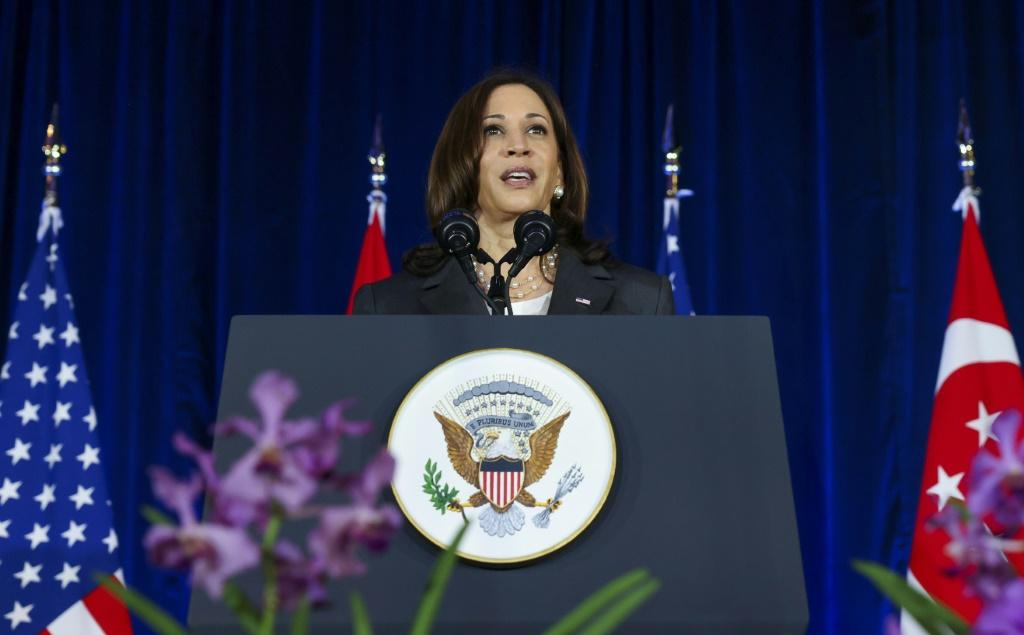 US Vice President Kamala Harris delivers a speech in Singapore during a visit to promote US relations in the region against China's alleged threat