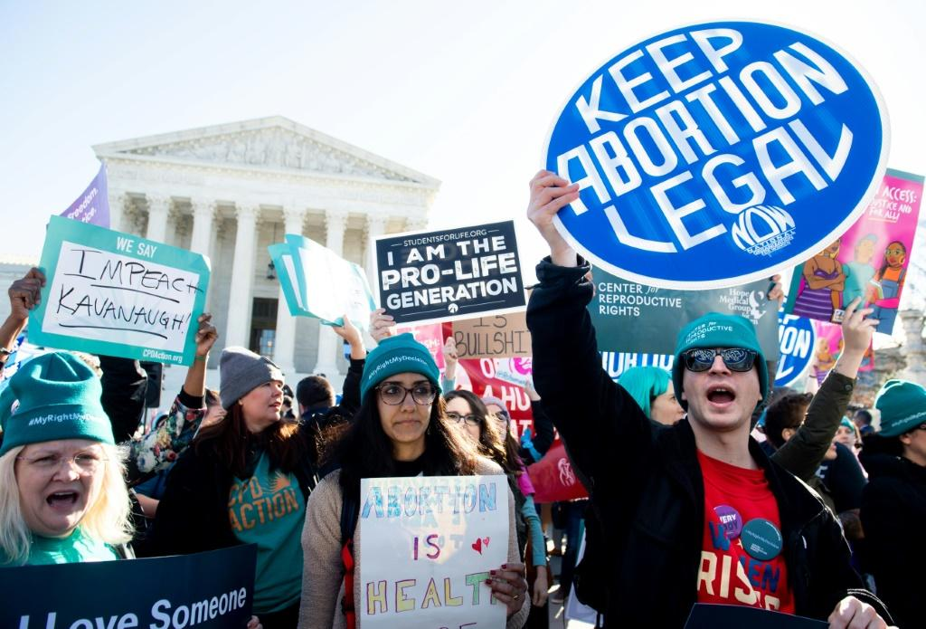 Pro-choice activists supporting legal access to abortion protest outside the US Supreme Court
