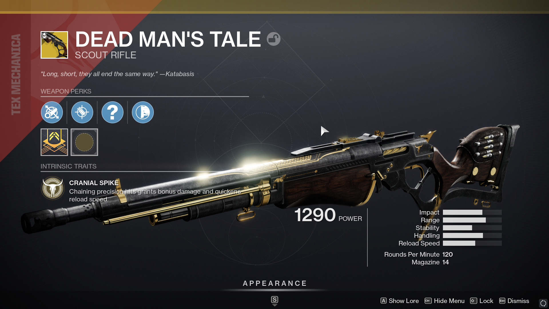 The Dead Man's Tale exotic scout rifle in Destiny 2