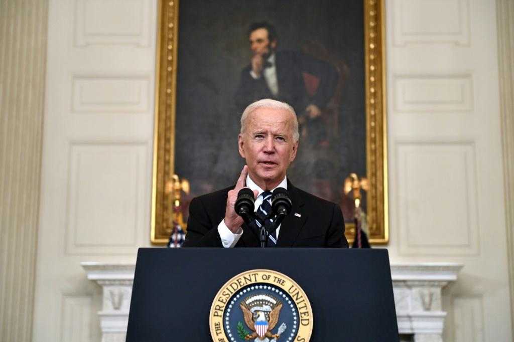 US President Joe Biden delivers remarks on plans to stop the spread of the Delta variant and boost Covid-19 vaccinations at the State Dinning Room of the White House, in Washington, DC on September 9, 2021.