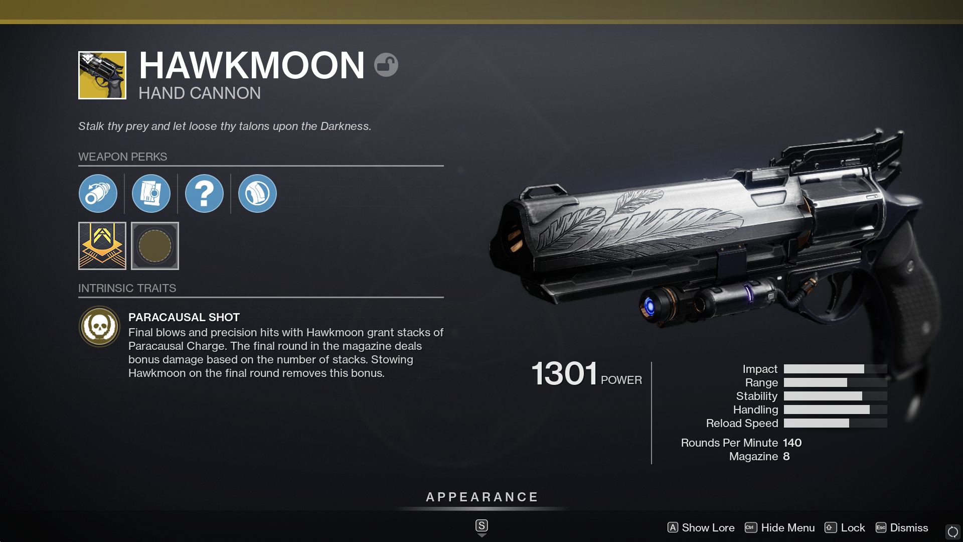 Destiny 2's Hawkmoon features random rolls and a new intrinsic perk compared to the original version