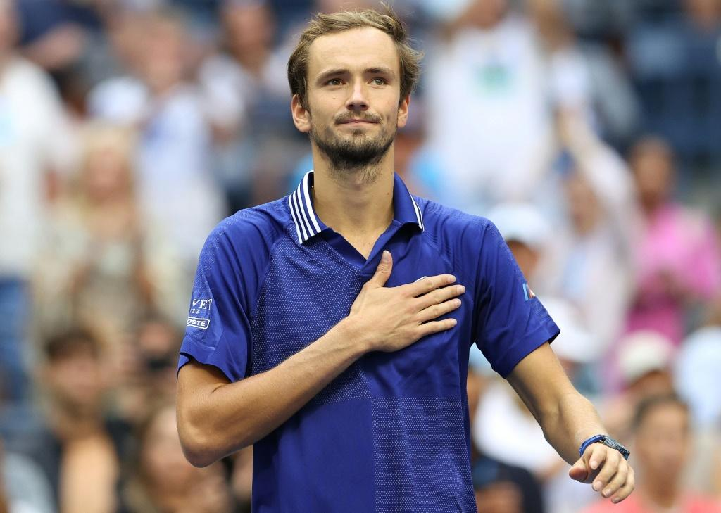 Russia's Daniil Medvedev acknowledges fans after beating Canadian Felix Auger-Aliassime to reach the US Open men's singles final