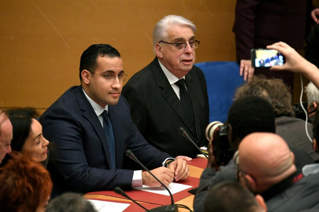 President Emmanuel Macron's former bodyguard Alexandre Benalla (L) will go on trial for assaulting two people during a 2018 protest